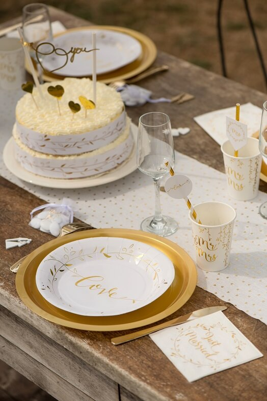 Assiette mariage or et blanc love