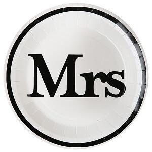 Assiette mariage Mr et Mrs: Mrs (x10) REF/4834