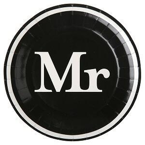 Assiette mariage Mr et Mrs: Mr (x10) REF/4834