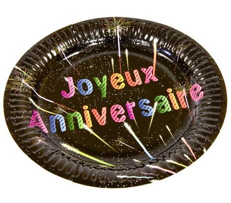 Assiette noire joyeux anniversaire 18cm