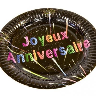 Assiette noire joyeux anniversaire, 23cm (x6) REF/AA2002CH/GM