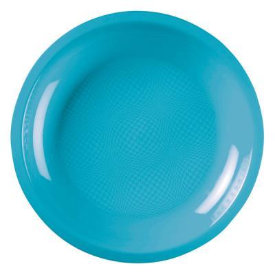 Assiette plate et ronde bleu turquoise incassable 22cm (x10) REF/52750