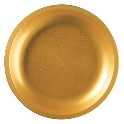 Assiette plate et ronde or incassable 22cm (x10) REF/62750