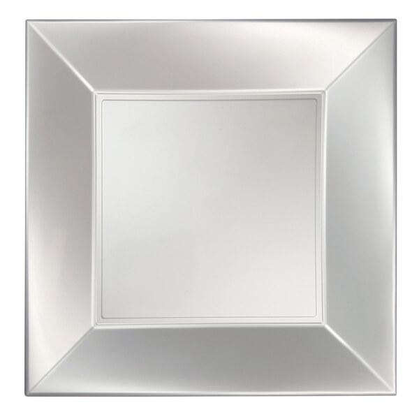 Assiette plate plastique 23cm blanc perle
