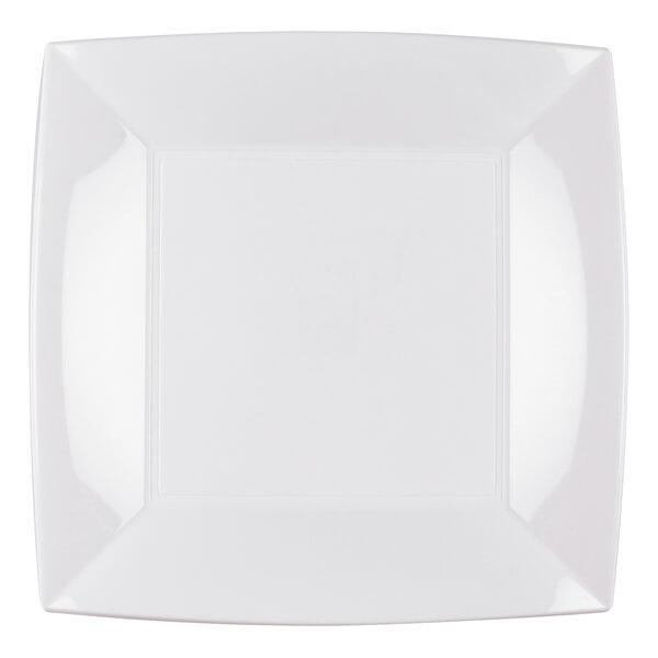 Assiette plate plastique 23cm blanche