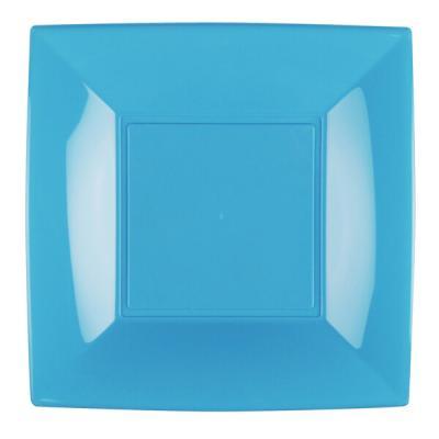 Assiette carrée plate bleu turquoise en plastique réutilisable de 23cm (x8) REF/58050