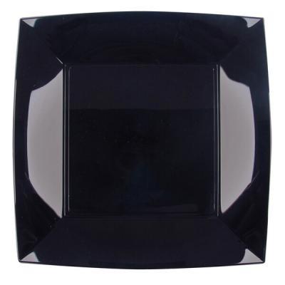 Assiette carrée plate noire en plastique réutilisable de 23cm (x8) REF/58050