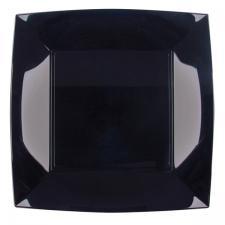 Assiette plate noire incassable 23cm (x8) REF/58050