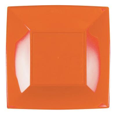 Assiette plate orange incassable 23cm (x8) REF/58050