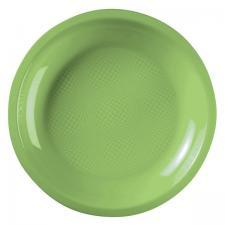 Assiette plate et ronde vert anis incassable 22cm (x10) REF/52750