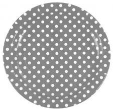 Assiette pois 22.5cm: Gris (x10) REF/3542