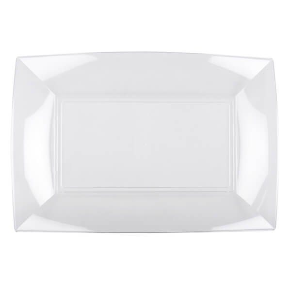 Assiette rectangle transparente incassable