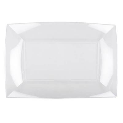 Petite assiette rectangle incassable transparente (x8) REF/57051