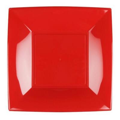 Assiette carrée plate rouge en plastique réutilisable de 23cm (x8) REF/58050