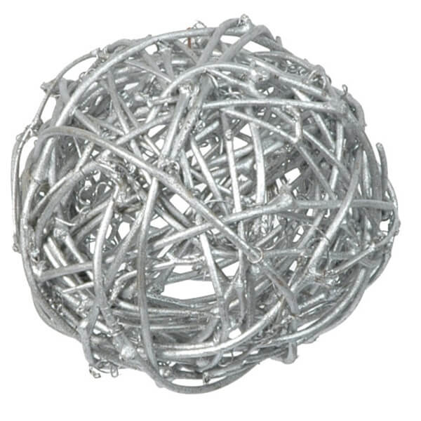 Assortiment boule de rotin argent decorative