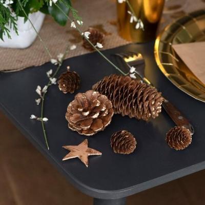 Boîte de 180grs assortiment bois décoration pommes de pin et étoiles (x1) REF/7485