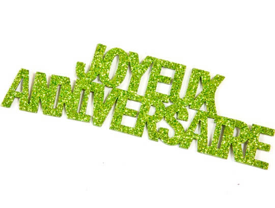Autocollant joyeux anniversaire vert menthe