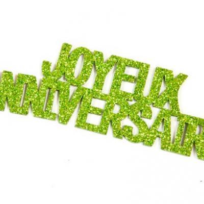 Autocollant anniversaire vert menthe (x6) REF/DEC762