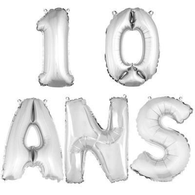 Ballon aluminium anniversaire 10 ans argent (x1)