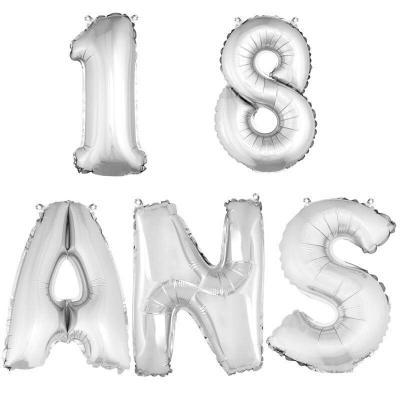 Ballon aluminium anniversaire 18 ans argent (x1)