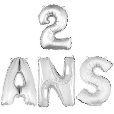 Ballon aluminium anniversaire 2ans argent (x1) BA3000-BA3008