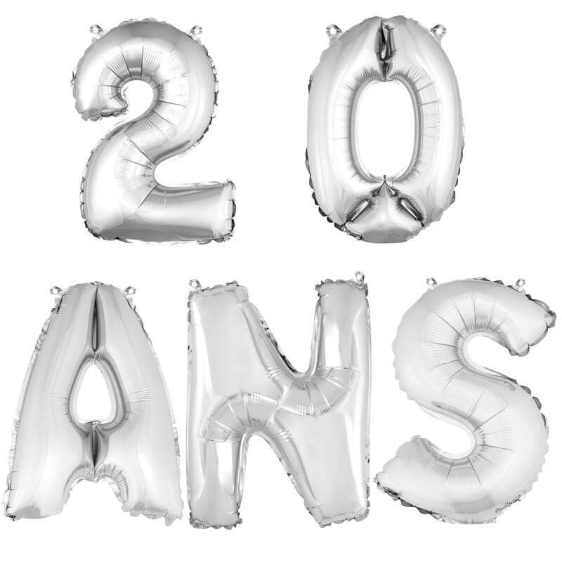 Ballon aluminium anniversaire 20 ans argent