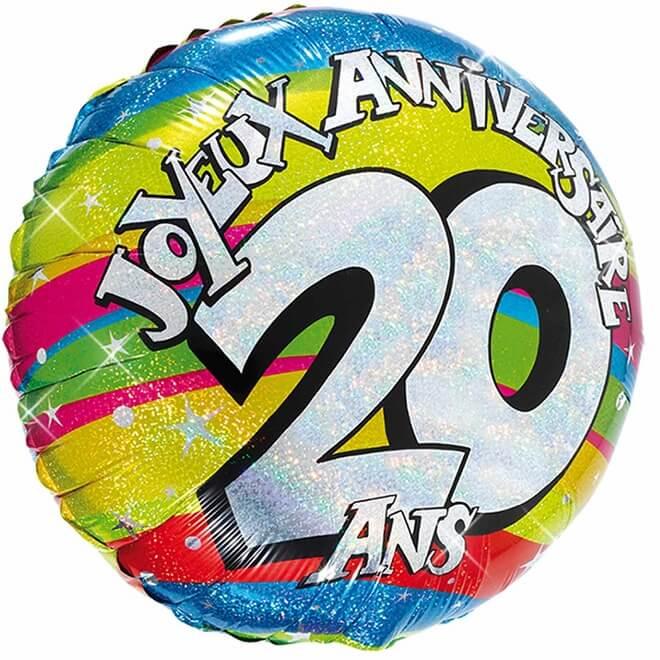 Ballon aluminium anniversaire 20 ans multicolore