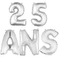 Ballon aluminium anniversaire 25 ans argent (x1)