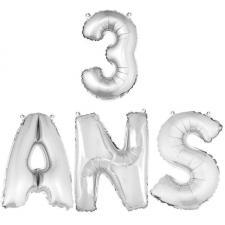 Ballon aluminium anniversaire 3ans argent (x1) BA3000-BA3008