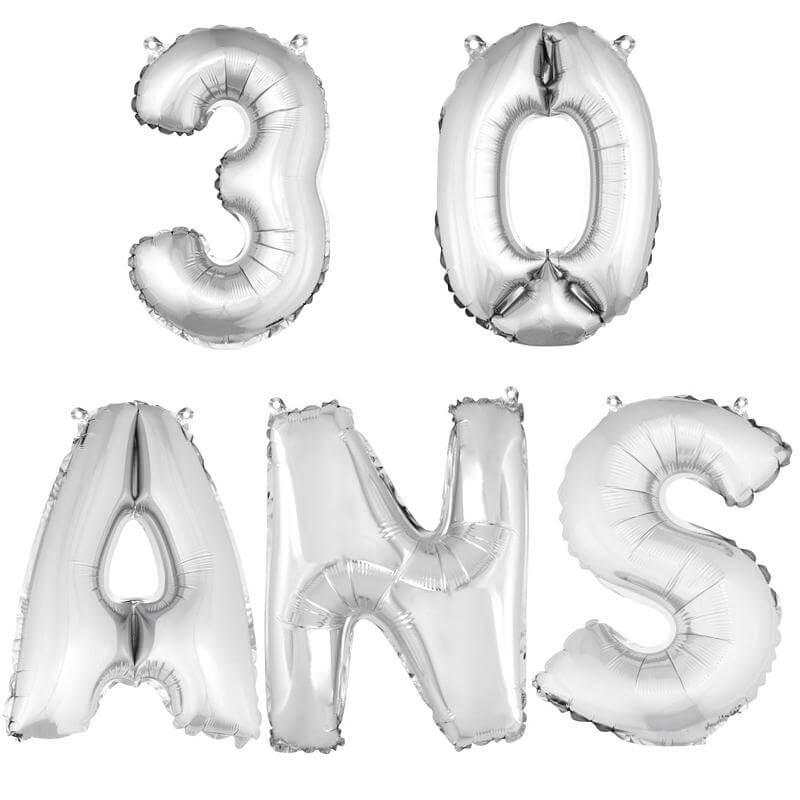 Ballon aluminium anniversaire 30 ans argent