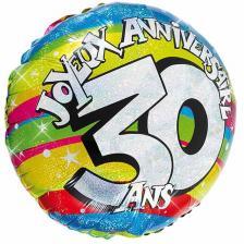 Ballon holographique anniversaire 30ans (x1) REF/BALH03