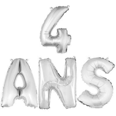 Ballon aluminium anniversaire 4ans argent (x1) BA3000-BA3008