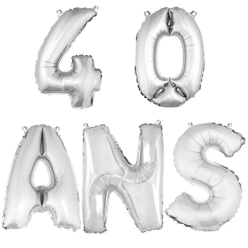 Ballon aluminium anniversaire 40 ans argent