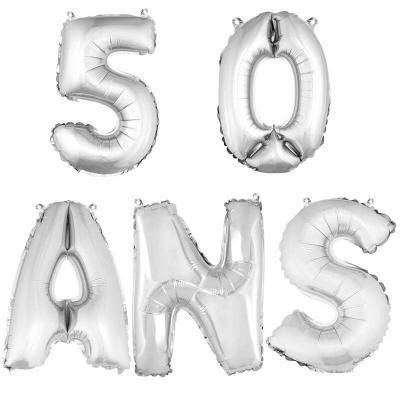 Ballon aluminium anniversaire 50 ans argent (x1)