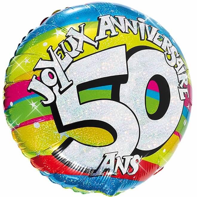 Ballon aluminium anniversaire 50 ans multicolore