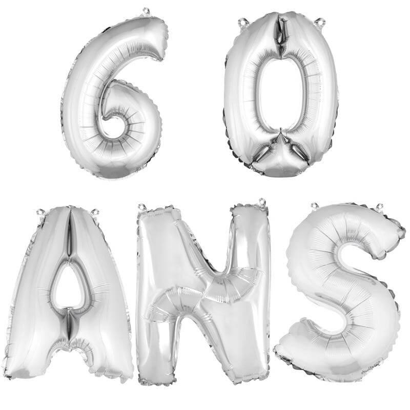 Ballon aluminium anniversaire 60 ans argent
