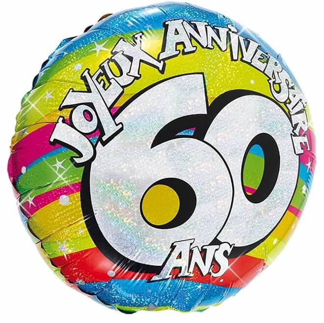 Ballon aluminium anniversaire 60 ans multicolore