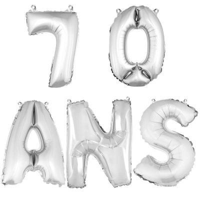 Ballon aluminium anniversaire 70 ans argent (x1)