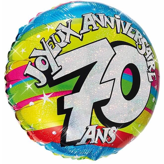 Ballon aluminium anniversaire 70 ans multicolore