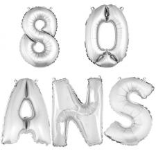Ballon aluminium anniversaire 80 ans argent (x1)