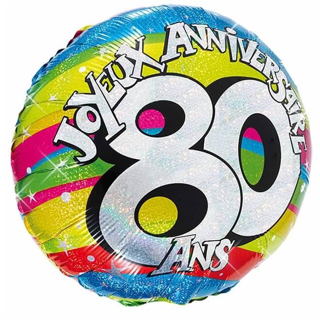 Ballon aluminium anniversaire 80 ans multicolore