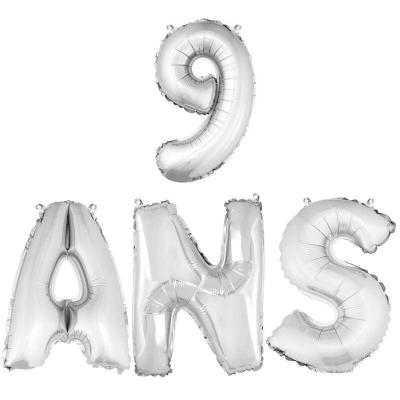 Ballon aluminium anniversaire 9ans argent (x1) BA3000-BA3008