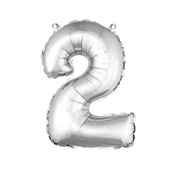 Ballon aluminium anniversaire chiffre 2 argent