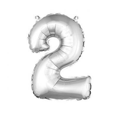 Ballon métallique argent, chiffre 2 (x1) REF/BA3000
