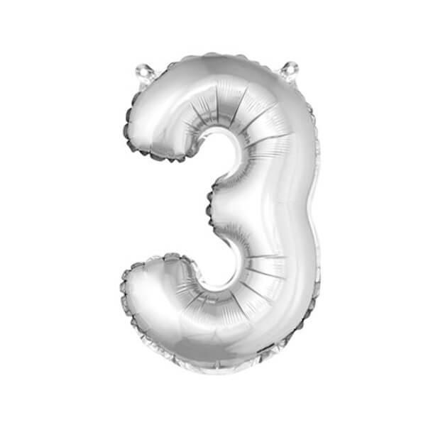 Ballon aluminium anniversaire chiffre 3 argent