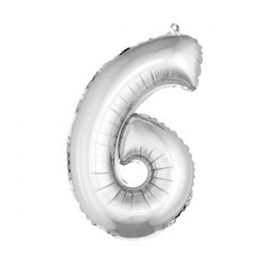 Ballon métallique argent, chiffre 6 (x1) REF/BA3000