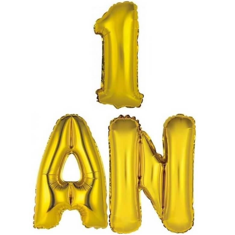 Ballon aluminium anniversaire or 1 an