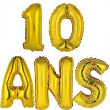 Ballon aluminium anniversaire 10ans or (x1)