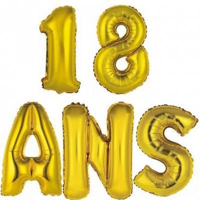 Ballon aluminium anniversaire 18ans or (x1)