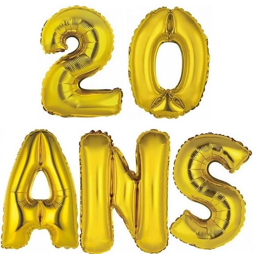 Ballon aluminium anniversaire or 20 ans